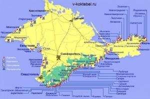 Доброго времени суток, уважаемые читатели!  Как же выглядит Коктебель на карте Крыма?