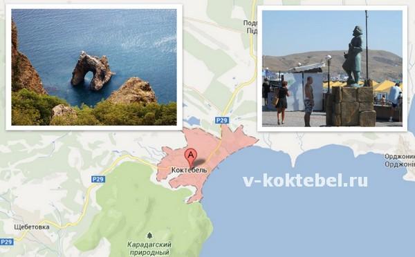Коктебель-на-карте-Украины-Крым